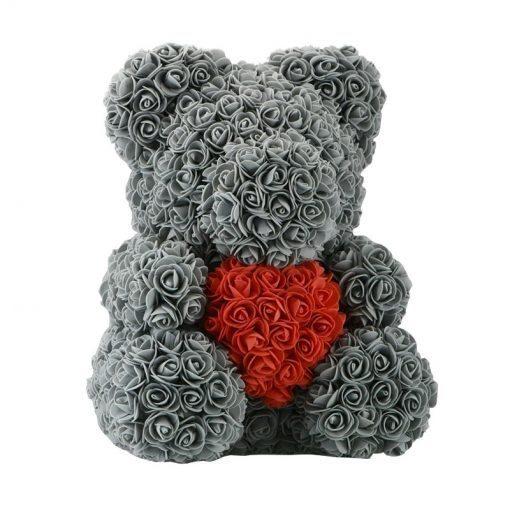 ours en rose gris grande taille