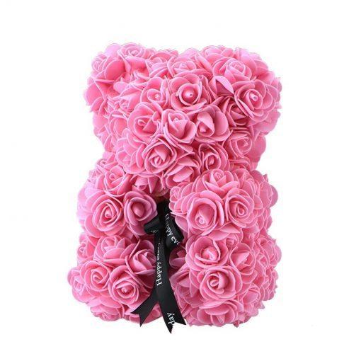 ourson en rose artificielle de couleur rose