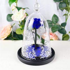 rose éternelle sous cloche la belle et la bête bleue