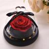 rose éternelle lumineuse rouge sous cloche mon amour