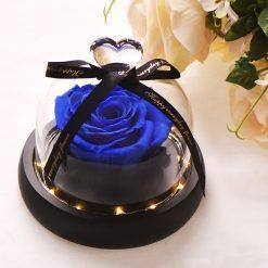 rose éternelle lumineuse bleue sous cloche mon amour