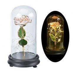 rose éternelle blanche en or sous cloche avec tige rigide