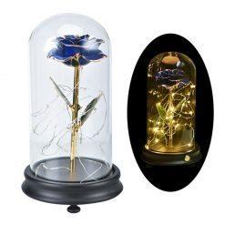 rose éternelle bleue en or sous cloche avec tige rigide