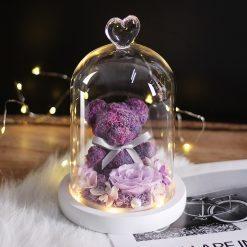 rose éternelle violette sous cloche avec ourson sous cloche