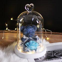 rose éternelle bleue avec ourson sous cloche