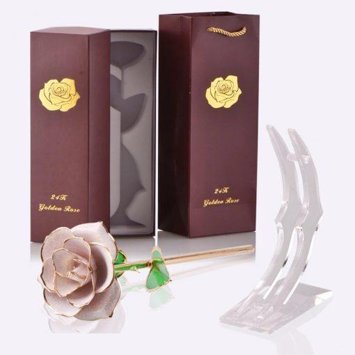 rose éternelle en or sous tige blanche avec socle