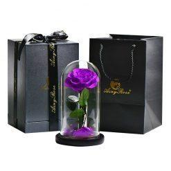 rose éternelle sous cloche avec boite