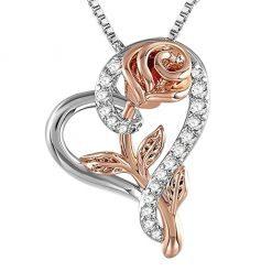 collier coeur et rose argent et or rose
