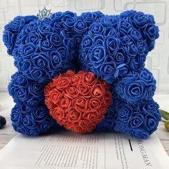 double ours en rose bleu avec coeur rouge