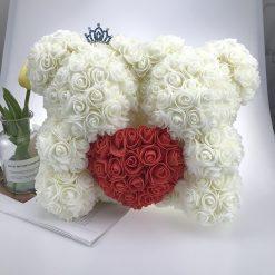 double ours en rose blanc avec coeur rouge