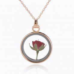 collier rose éternelle fleur séchée