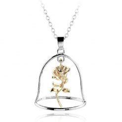 collier et pendentif rose éternelle sous cloche or et argent