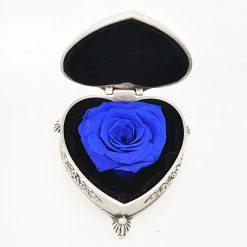 boite rose éternelle bleue en forme de coeur