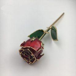 rose éternelle sur tige en or rouge bella