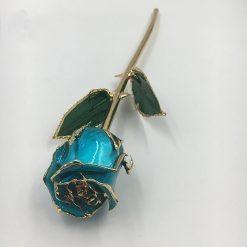 rose éternelle sur tige en or turquoise bella