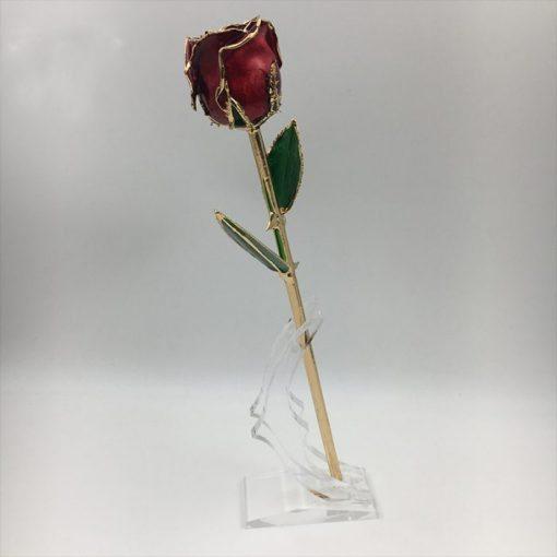 rose éternelle sous tige en or rouge bella