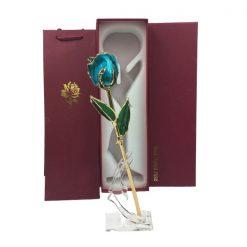 rose éternelle en or turquoise