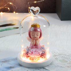 composition rose éternelle sous cloche avec ange rose