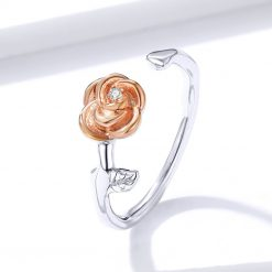 bague rose fleur avec rose en or plaqué
