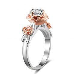 bague rose fleur rose éclatante