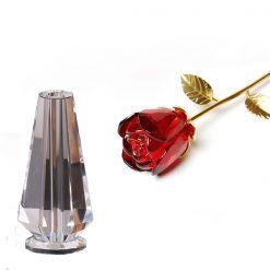 Rose éternelle en cristal rouge avec vase