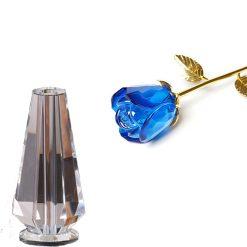 rose éternelle en cristal bleue avec vase