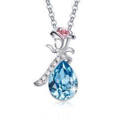 collier rose éternelle cristal bleu et argent