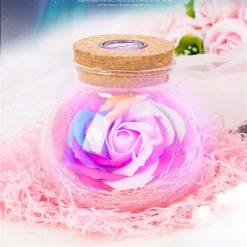 rose éternelle bocal en verre lampe magique rose