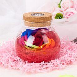 rose éternelle en bocal en verre lampe magique rouge
